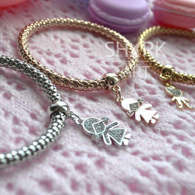 "Толстый браслет для мам ""Silver Girl"""
