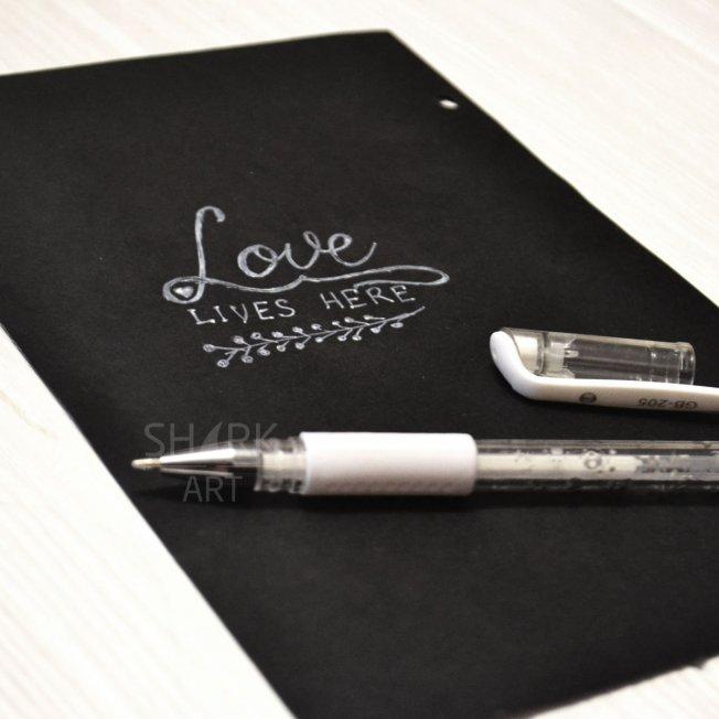 Белая ручка для черных листов