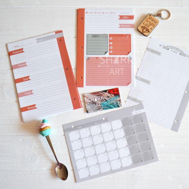 Ежедневник-планер А5 в цветной обложке с узором