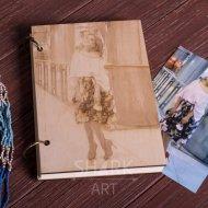 Деревянная книга А5 с нанесением фото